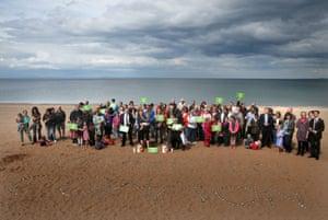 People gather at Portobello beach in Edinburgh