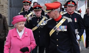The Queen with Barry Dodd, pictured behind right, during a visit to Richmond Castle in 2015
