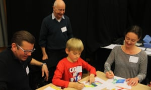 Geometric drawing with Michael Challenger at the Guardian cartoon and art family day.