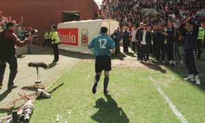 Georgi Kinkladze leaves the field at Stoke City after Manchester City are relegated to the third tier for the first time in their history in May 1998.