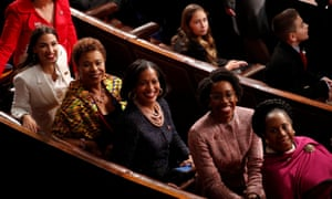 Alexandria Ocasio-Cortez (L) poses for photos with Barbara Lee, Jahana Hayes, Lauren Underwood and Sheila Jackson Lee as the House of Representatives meets for the start of the 116th Congress