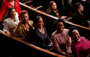 Alexandria Ocasio-Cortez with fellow Democrats Barbara Lee, Jahana Hayes, Lauren Underwood and Sheila Jackson Lee.