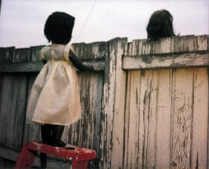 Over The Fence, 2000, by Destiny Deacon, from the series 'Sad & Bad', Lamda print from Polaroid original, 80 × 100cm.