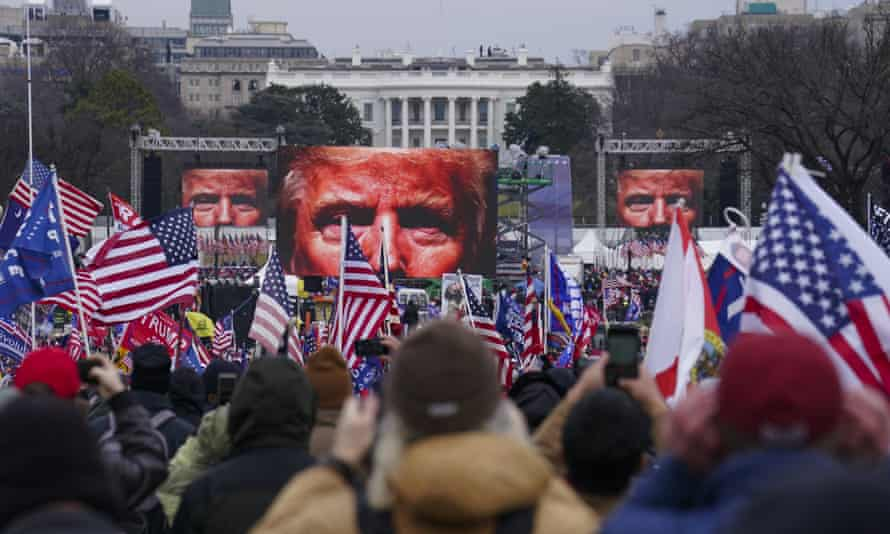 Supporters of Donald Trump participate in a rally in Washington, 6 January 2021