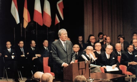 Edward Heath speaking after signing the Treaty of Accession for Britain's proposed entry into the European Economic Community at Egmont Palace in Brussels, 22 January 1972.