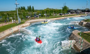 White water rafting at the Lee Valley White Water Centre, London, UK