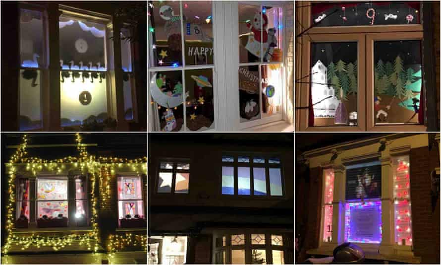 Windows 7-12: swans a swimming, space Christmas, nutcracker, pink house, rainbow star and George Michael.