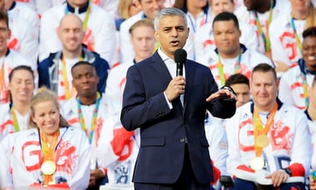 Sadiq Khan addresses the Olympic and Paralympic Heroes Parade in London on Tuesday.