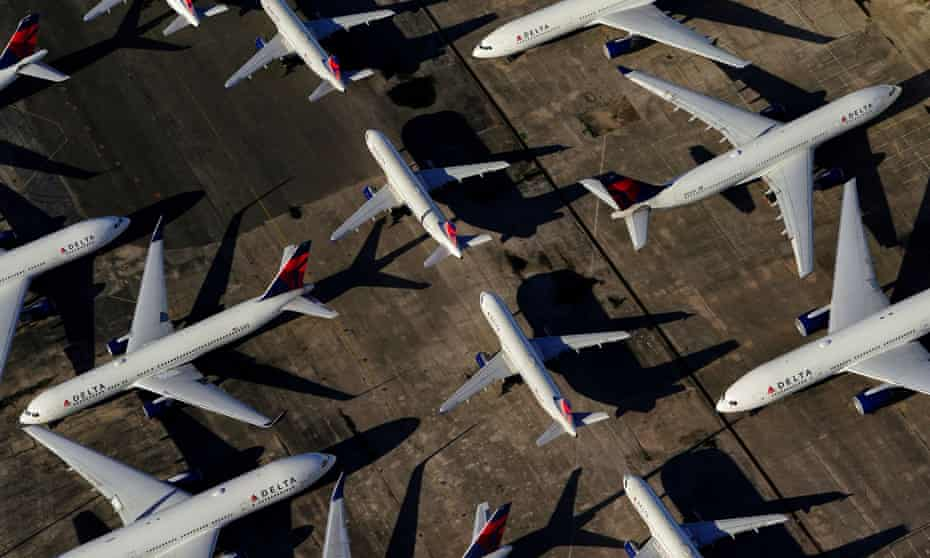 Passenger planes grounded in Birmingham, Alabama, in March 2020.