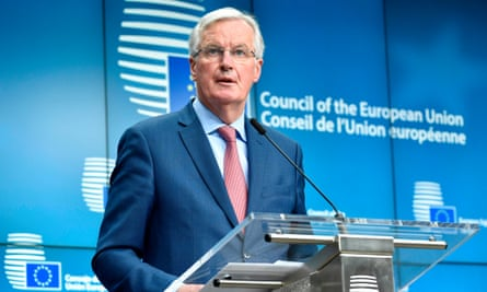 Michel Barnier, the EU's chief negotiator in charge of Brexit negotiations, speaking in Brussels on Monday