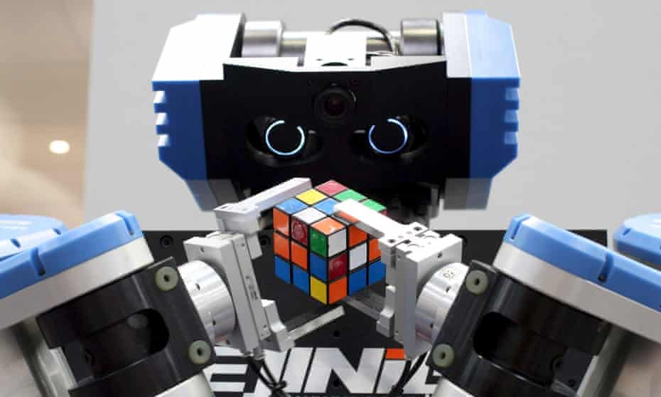 A robot solves a Rubik's Cube at the Hanover fair in Germany, 2007.