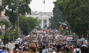 In a 6 June photo, demonstrators gather near the White House in Washington to protest the death of George Floyd.
