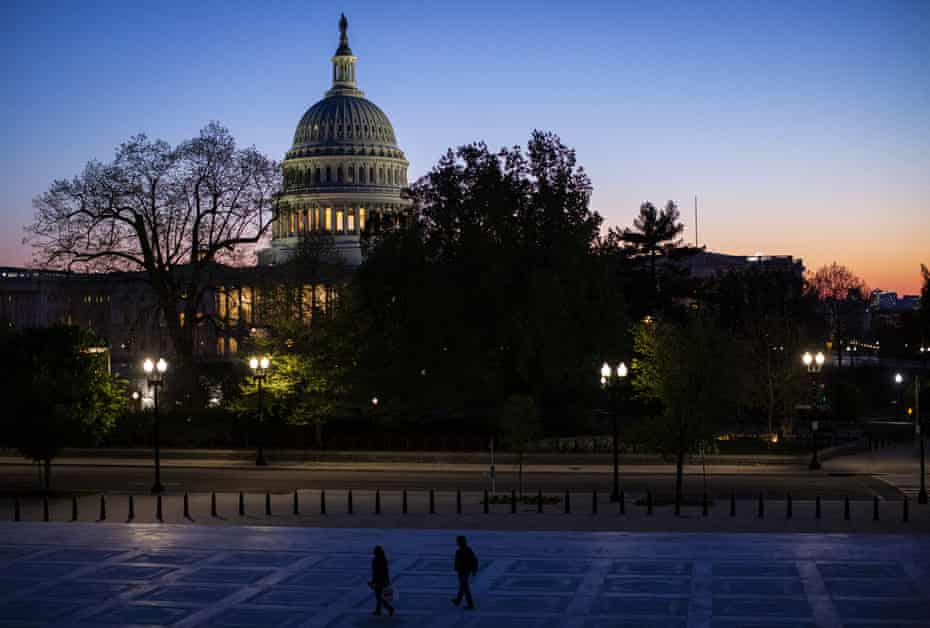 The U.S. Capitol stands at dusk in Washington, D.C., U.S., on Thursday, April 16, 2020. President Donald Trump threatened Wednesday to try to force both houses of Congress to adjourn -- an unprecedented move that would likely raise a constitutional challenge -- so that he can make appointments to government jobs without Senate approval.