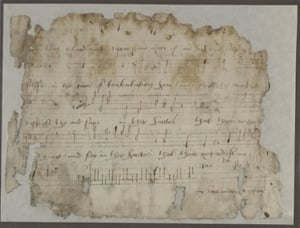 Fragment of a musical score by Thomas Tallis. By permission of the President and Fellows of Corpus Christi College, Oxford, Corpus Christi College Library MS 566, folio 2v