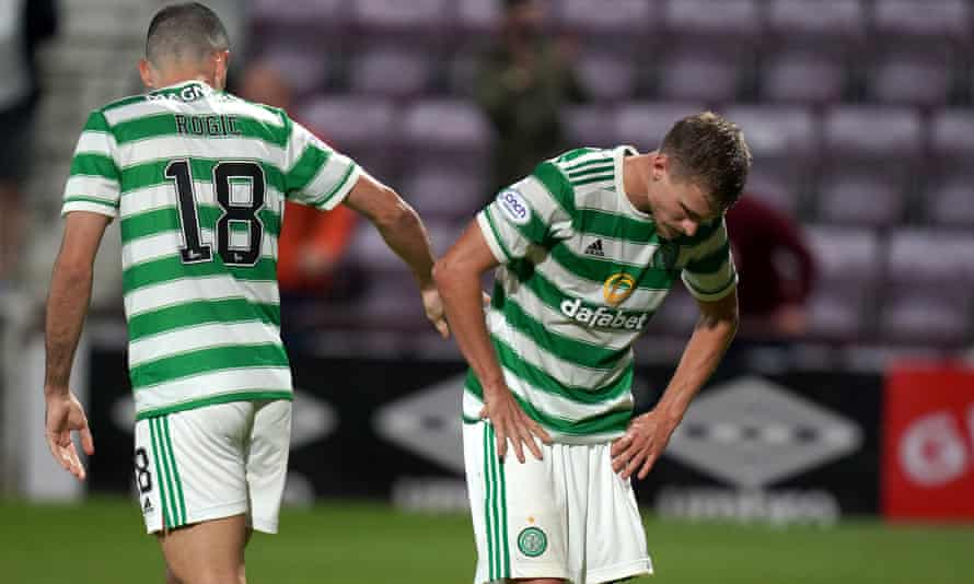 Celtic's Tom Rogic and Carl Starfelt after their 2-1 defeat against Hearts at Tynecastle.