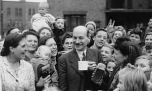 Clement Attlee chatting to constituents in his Limehouse constituency in 1945