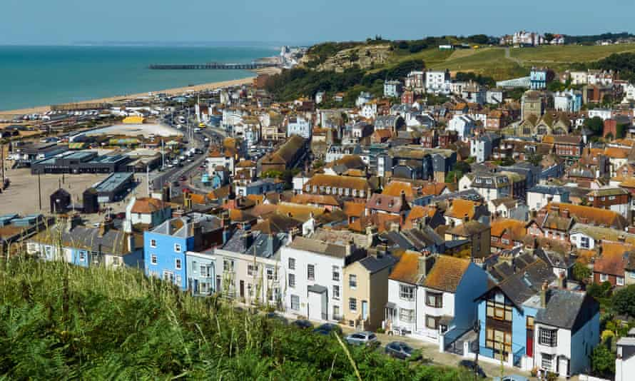 Hastings Old Town and seafront in summer