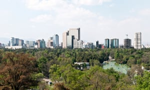The Mexico City skyline seen from Chapultepec Park, the city's largest green space.