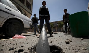 An exploded shell in Sana'a. The UN estimates that more than 1,000 children have been killed in Yemen during the three-year conflict, most in airstrikes by the Saudi military coalition.
