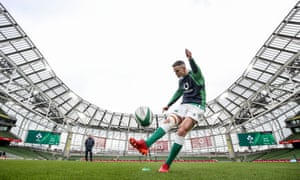 New Ireland captain Johnny Sexton tests his kicking form during the captain's run in Dublin.