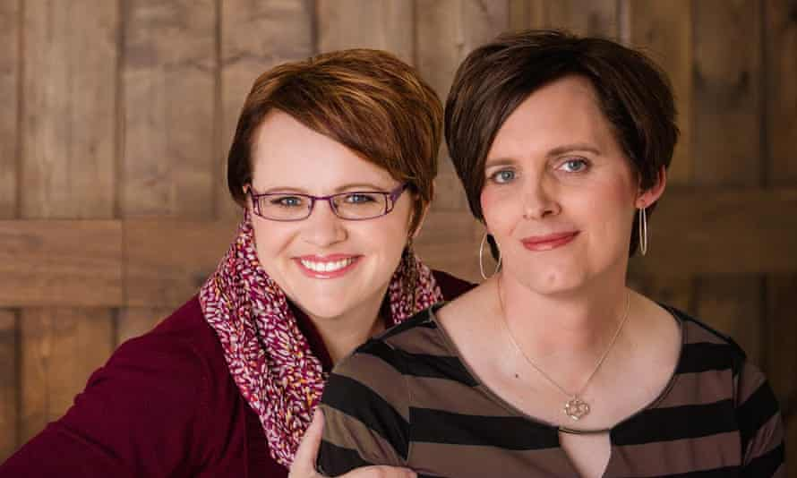 Brigit Pack (left), who co-founded a Facebook support group for trans Mormons and their family members, with her spouse Ann Pack.