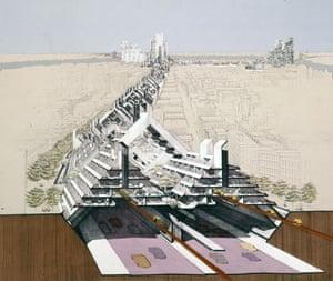 Mega-structures … design showing a sunken road with apartment blocks built above.