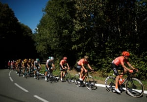 Tour de France riders make their way from Chauvigny to Sarran Correze in stage 12 of the race.