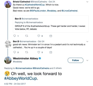 Westminster Abbey laments their lack of inclusion in the Twitter World Cup of Cathedrals