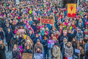 Protesters gather for the Women's March in Oslo, Norway,