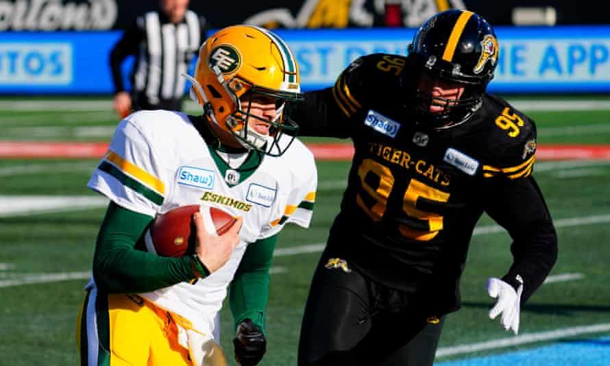 Edmonton Eskimos quarterback Trevor Harris in action against the Hamilton Tiger-Cats last season