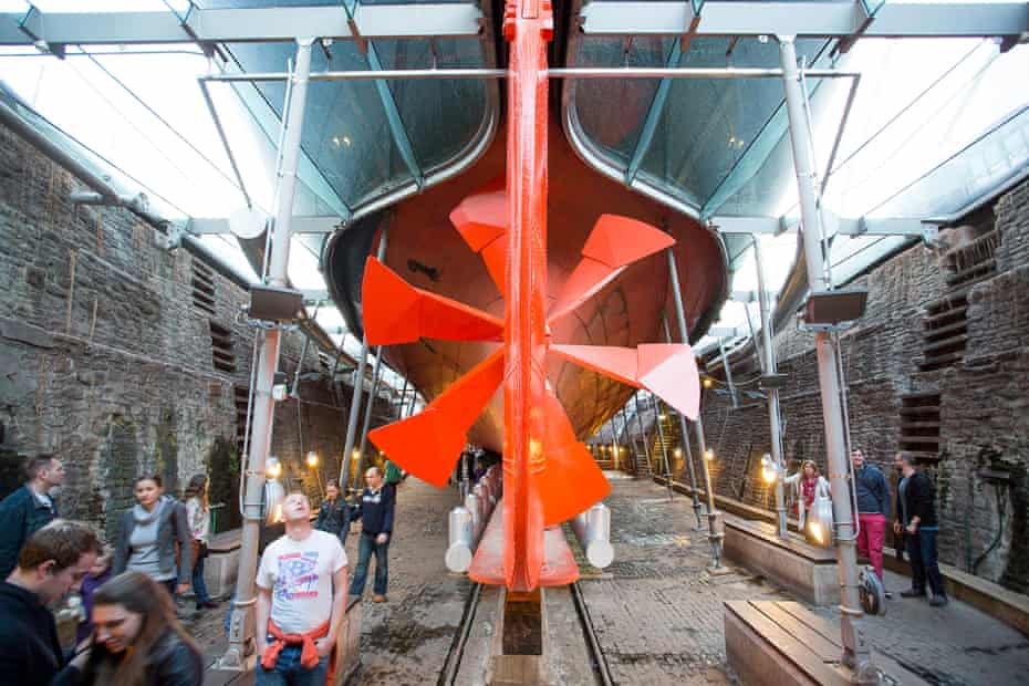 Under the 'sea': visitors admire the ship's huge propeller.