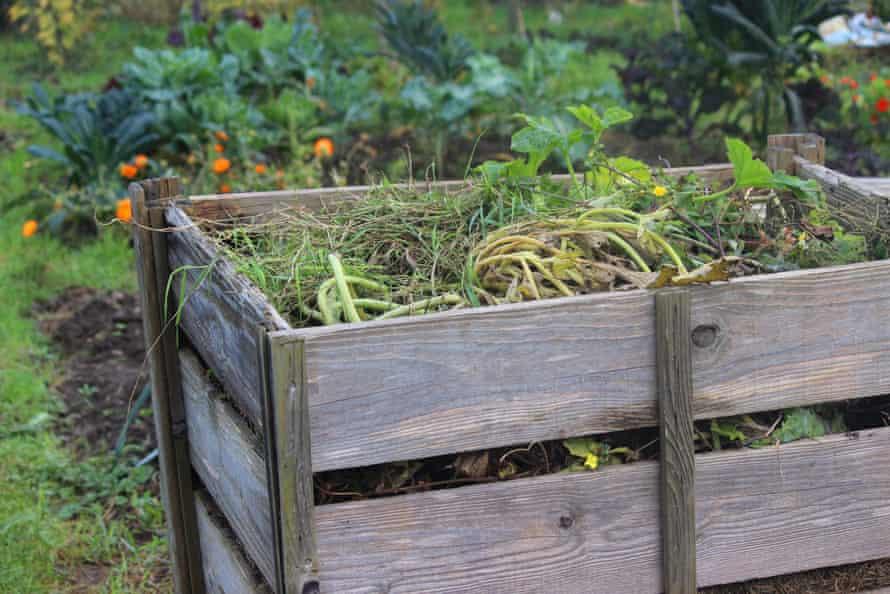 Wooden compost heap