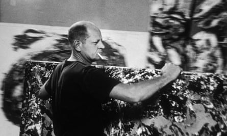 Abstract expressionist painter Jackson Pollock in his studio in 1953.