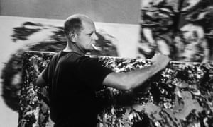 Brash and bold: 'bad boy' Jackson Pollock at work in his East Hampton, New York, studio in 1953.