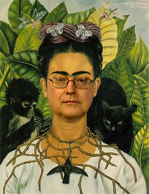 Self-portrait with necklace of thorns (after Frida Kahlo)