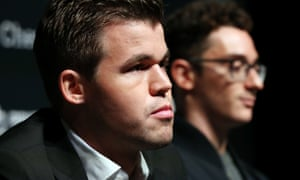 The reigning world chess champion, Magnus Carlsen, with Fabiano Caruana (right).