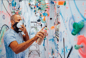 New York artist Kenny Scharf, a peer and friend of Basquiat and Haring.