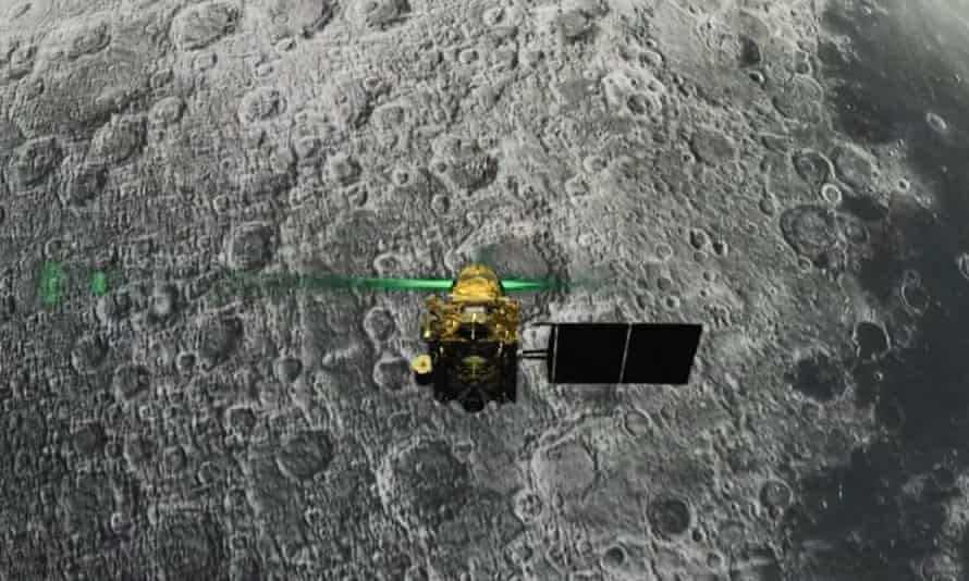 A screen grab taken from a live webcast shows India's Vikram lander before its descent to the moon's surface. It has been located and attempts are being made to contact it after the mission's failed landing.
