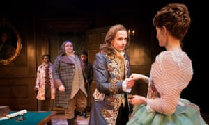 The heart of the play … Geoffrey Streatfeild's Mirabell with Justine Mitchell as Millamant, as Christian Patterson's Sir Wilfull Witwoud looks on.