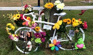 A ghost bike memorial to Paige Balinsky, who was killed by a hit-and-run driver in Crosby near Houston in June.