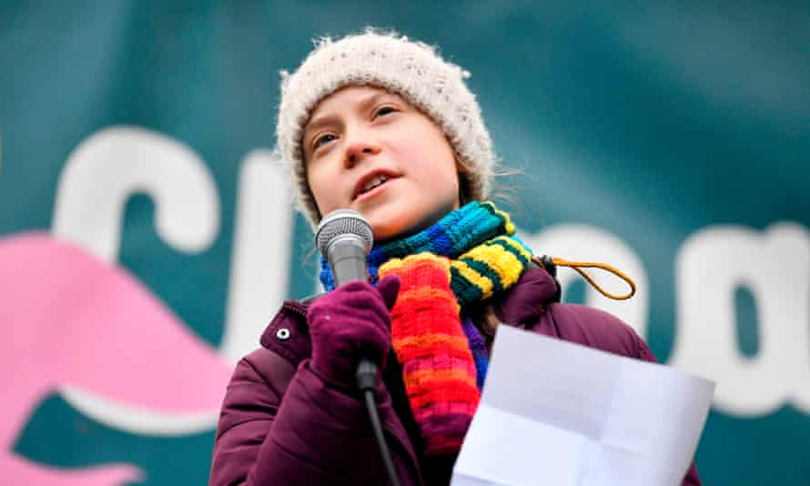 Greta Thunberg speaks during a Youth Strike 4 Climate protest march on 6 March 2020 in Brussels