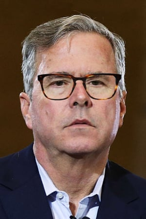 Jeb Bush photoshopped by The Guardian to wear Warby Parker Burke in Sugar Maple.