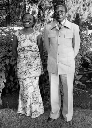 Mugabe with wife Sally in the garden of their home in Salisbury, Harare