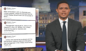 'No one takes away civil rights as politely as Donald Trump,' says Trevor Noah