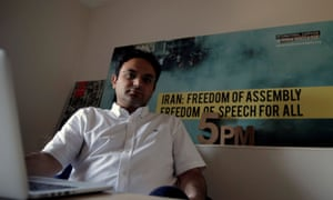 Amir Rashidi, an internet security researcher who has worked with Telegram users who were victims of hacking, poses for a photograph at the offices of International Campaign for Human Rights in Iran in New York.
