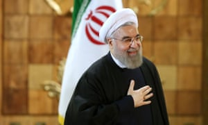 Iran's president Hassan Rouhani at a press conference in Tehran on Sunday 17 January 2016