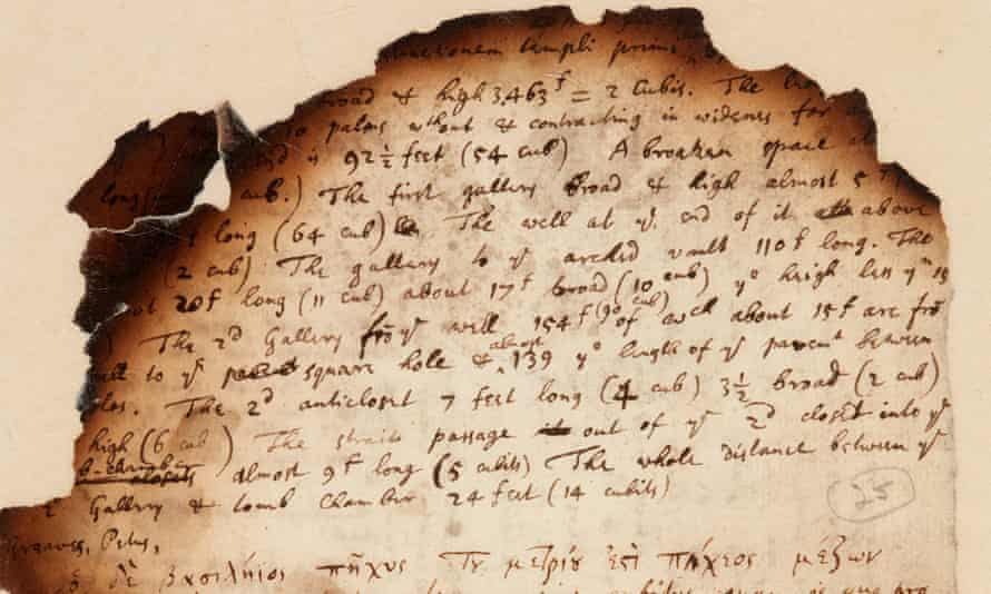 Isaac Newton's handwritten notes showing his investigations into the Egyptian pyramids, dated from the 1680s.