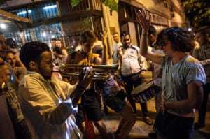 A brass band plays in the early hours during the Guca trumpet festival in Serbia
