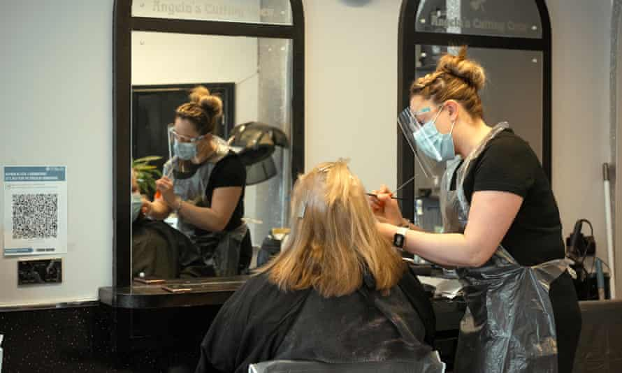 Tanya Churchward at work at Angela's Cutting Crew in Caerphilly