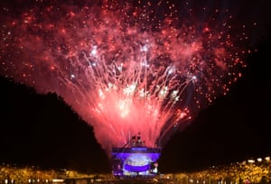Fireworks explode over the Brandenburg Gate during the celebrations marking the 30th anniversary of the fall of the Berlin Wall